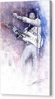 Jazz Rock Jimi Hendrix 07 Canvas Print by Yuriy  Shevchuk