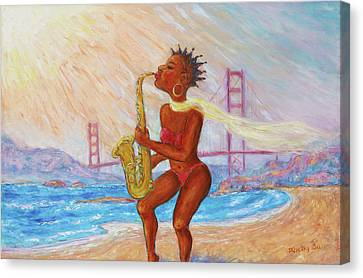 Canvas Print featuring the painting Jazz San Francisco by Xueling Zou