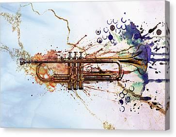 Music Canvas Print - Jazz Trumpet by David Ridley