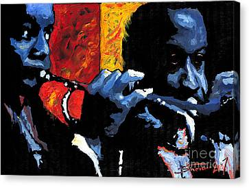 Jazz Trumpeters Canvas Print by Yuriy  Shevchuk