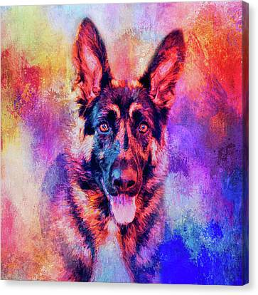 Animal Canvas Print - Jazzy German Shepherd Colorful Dog Art By Jai Johnson by Jai Johnson