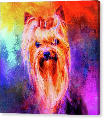 Jazzy Yorkshire Terrier Colorful Dog Art By Jai Johnson Canvas Print