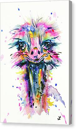 Canvas Print featuring the painting Jazzzy Ostrich by Zaira Dzhaubaeva
