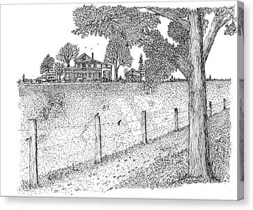 Canvas Print featuring the drawing Jb Farm by Jack G  Brauer