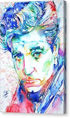 Jean Gabin - Colored Pens Portrait Canvas Print