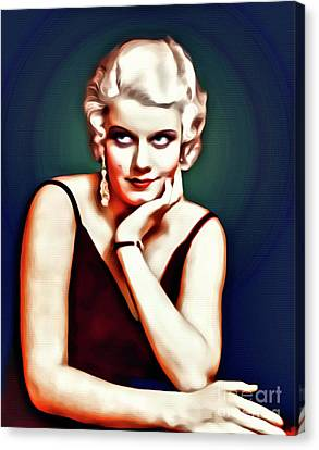 Jean Harlow, Hollywood Legend, Digital Art By Mary Bassett Canvas Print by Mary Bassett