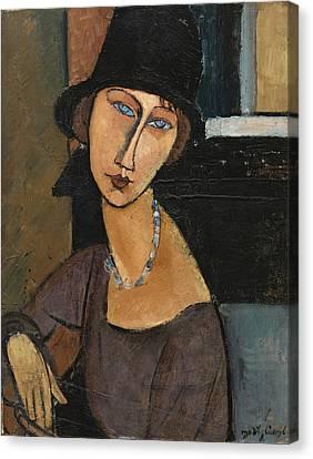 Jean Hebuterne. Au Chapeau Canvas Print by Amedeo Modigliani