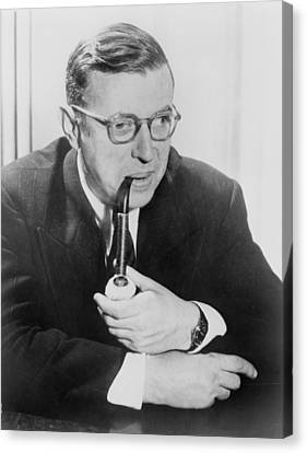 Jean-paul Sartre 1905-1980, French Canvas Print