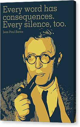 Jean Paul Sartre Canvas Print