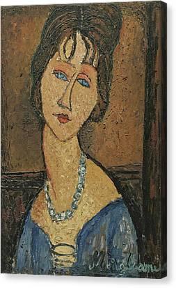 Jeanne Hebuterne. Au Collier Canvas Print by Amedeo Modigliani