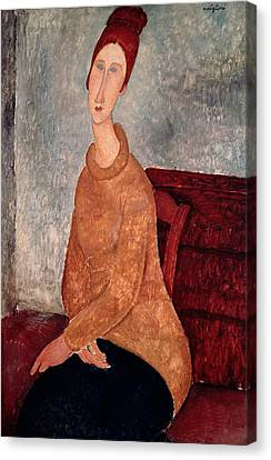Jeanne Hebuterne In A Yellow Jumper Canvas Print