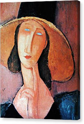 Jeanne Hebuterne In Large Hat Canvas Print by Amedeo Modigliani