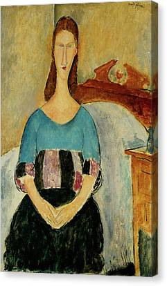 Jeanne Hebuterne Seated Amedeo Modigliani 1918 Canvas Print by Movie Poster Prints