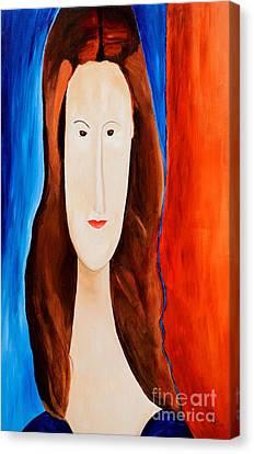 Jeanne Hebuterne- Tribute To Modigliani  Canvas Print by Art by Danielle