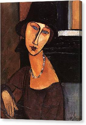 Jeanne Hebuterne With Hat And Necklace Canvas Print by Amedeo Modigliani