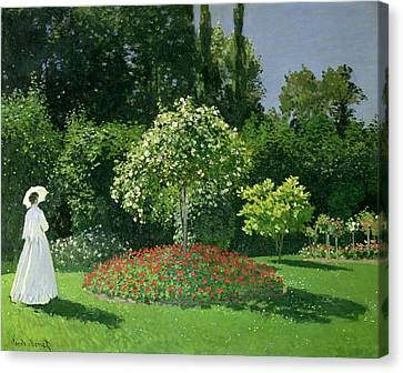 Flower Bed Canvas Print - Jeanne Marie Lecadre In The Garden by Claude Monet