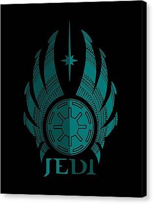 Jedi Symbol - Star Wars Art, Blue Canvas Print