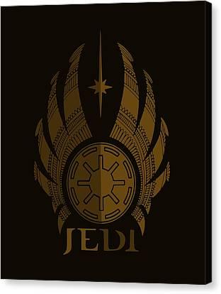 Jedi Symbol - Star Wars Art, Brown Canvas Print