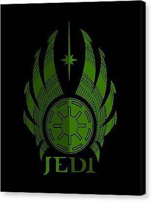 Jedi Symbol - Star Wars Art, Green Canvas Print