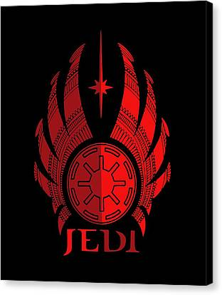 Movie Poster Canvas Print - Jedi Symbol - Star Wars Art, Red by Studio Grafiikka