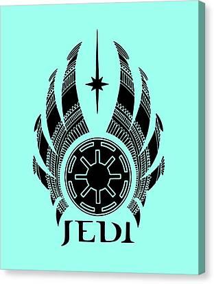 Jedi Symbol - Star Wars Art, Teal Canvas Print