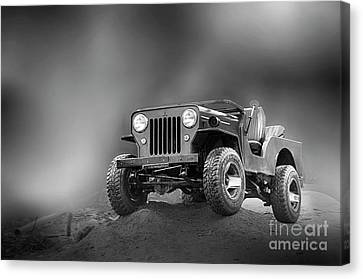 Canvas Print featuring the photograph Jeep Bw by Charuhas Images