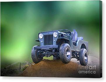 Canvas Print featuring the photograph Jeep by Charuhas Images