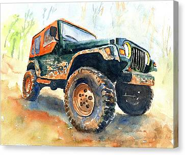 Jeep Wrangler Watercolor Canvas Print by Carlin Blahnik