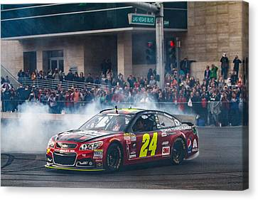 Jeff Gordon - The Final Burnout  Canvas Print by James Marvin Phelps