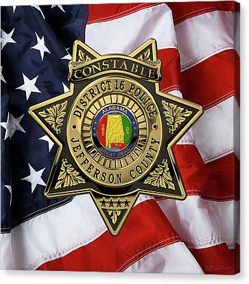 Police Art Canvas Print - Jefferson County Sheriff's Department - Constable Badge Over American Flag by Serge Averbukh