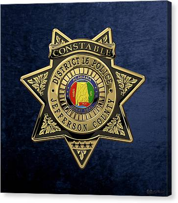 Jefferson County Sheriff's Department - Constable Badge Over Blue Velvet Canvas Print by Serge Averbukh