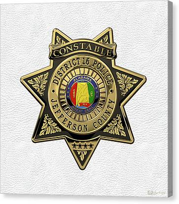 Jefferson County Sheriff's Department - Constable Badge Over White Leather Canvas Print