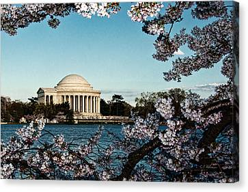 Jefferson Memorial In Spring Canvas Print by Christopher Holmes
