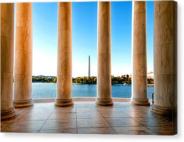 Canvas Print featuring the photograph Jefferson To Washington by Greg Fortier