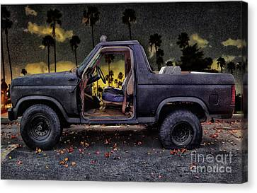 Jeff's Jeep And The Fallen Leaves Canvas Print by Bob Winberry