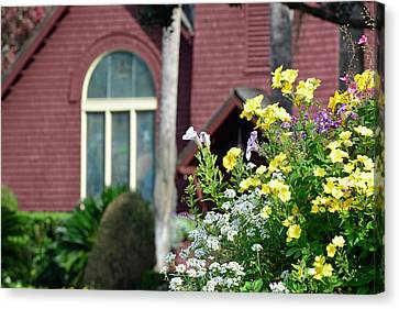 Canvas Print featuring the photograph Jekyll Island Chapel And Flowers by Bruce Gourley
