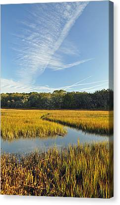 Jekyll Island Marsh High Tide And Sky Canvas Print by Bruce Gourley