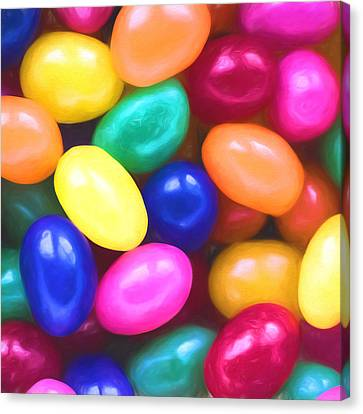Jelly Beans Square Canvas Print by Terry DeLuco