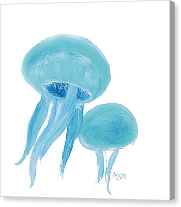 Jellyfish - Bathroom  Wall Art Canvas Print by Jan Matson