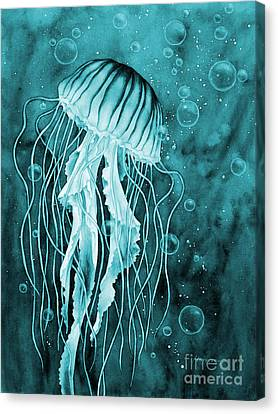 Jellyfish Canvas Print - Jellyfish On Blue by Hailey E Herrera