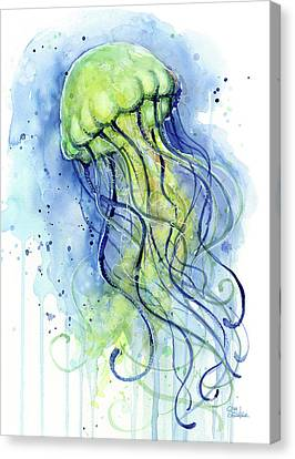 Jellyfish Watercolor Canvas Print by Olga Shvartsur