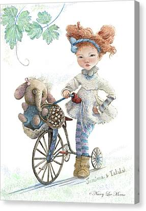 Jemima Starling And Her Elephant Friend Canvas Print by Nancy Lee Moran