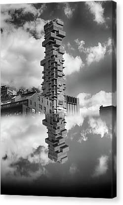 Jenga Towers Among The Clouds Canvas Print