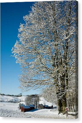 Jenne Farm Winter In Vermont Canvas Print by Edward Fielding