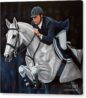 Jumping Horse Canvas Print - Jeroen Dubbeldam On The Sjiem by Paul Meijering