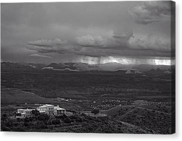 Canvas Print featuring the photograph Jerome State Park With Sedona Storm by Ron Chilston
