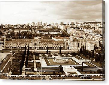 Jeronimos Monastery In Sepia Canvas Print