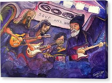 Canvas Print featuring the painting Jerry Joseph And The Jackmormons by David Sockrider