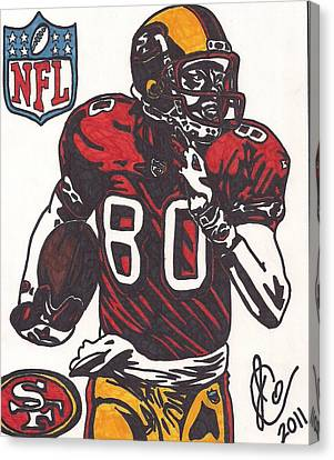 Canvas Print featuring the drawing Jerry Rice by Jeremiah Colley