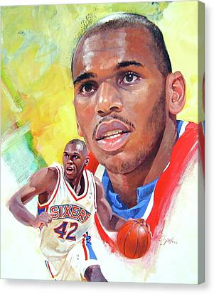 Canvas Print featuring the painting Jerry Stackhouse by Cliff Spohn